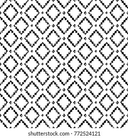 Black and white aged geometric arabic rhombus ethnic grunge seamless pattern, vector