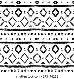 Black and white aged geometric aztec grunge seamless pattern, vector