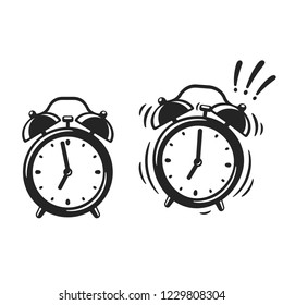 Black and white alarm clock drawing, standing and ringing. Retro style cartoon clock illustration, simple vector clip art.