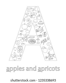 Black and white alphabet letter A. Phonics flashcard. Cute letter A for teaching reading with cartoon style apples and apricots. Coloring page for children
