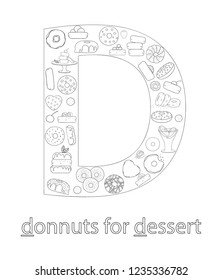 Black and white alphabet letter D. Phonics flashcard. Cute letter D for teaching reading with cartoon style donuts. Coloring page for children