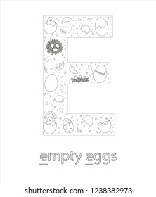 Black and white alphabet letter E. Phonics flashcard. Cute letter E for teaching reading with cartoon style eggs. Coloring page for children