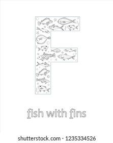Black and white alphabet letter F. Phonics flashcard. Cute letter F for teaching reading with cartoon style fish. Coloring page for children
