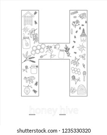 Black and white alphabet letter H. Phonics flashcard. Cute letter H for teaching reading with cartoon style honey, beehive, flowers, hive, bee, bumblebee, insects. Coloring page for children