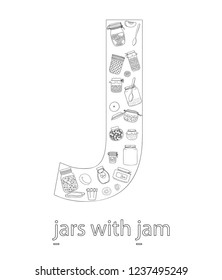 Black and white alphabet letter J. Phonics flashcard. Cute letter J for teaching reading with cartoon style jam jars. Coloring page for children