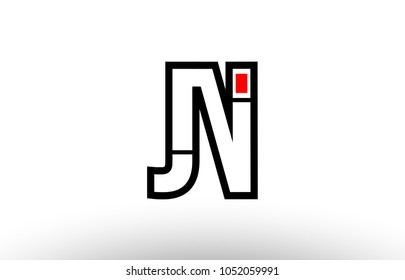 black and white alphabet letter jn j n logo combination design suitable for a company or business