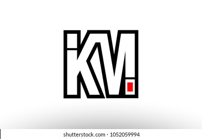 black and white alphabet letter km k m logo combination design suitable for a company or business