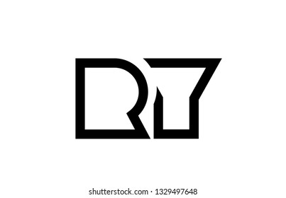 black and white alphabet letter logo combination ry r y design suitable for a company or business