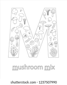 Black and white alphabet letter M. Phonics flashcard. Cute letter M for teaching reading with cartoon style mushrooms. Coloring page for children