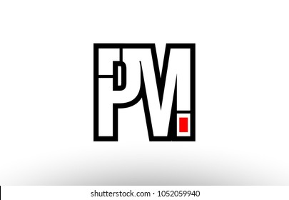 black and white alphabet letter pm p m logo combination design suitable for a company or business
