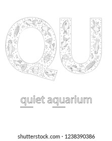 Black and white alphabet letter Q. Phonics flashcard. Cute letter Q for teaching reading with cartoon style aquarium fish. QU sound. Coloring page for children