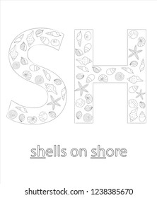 Black and white alphabet letter S. Phonics flashcard. Cute SH sound for teaching reading with cartoon style shells on sandy background. Coloring page for children