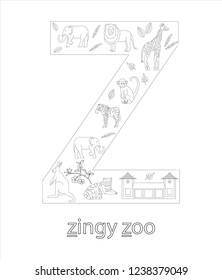 Black and white alphabet letter Z. Phonics flashcard. Cute letter Z for teaching reading with cartoon style zoo, tiger, giraffe, lion, monkey, zebra, elephant, kangaroo. Coloring page for children