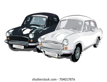 Black and white ambassador cars ready for riding in white background