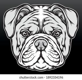Black white american bulldog. Premium vector