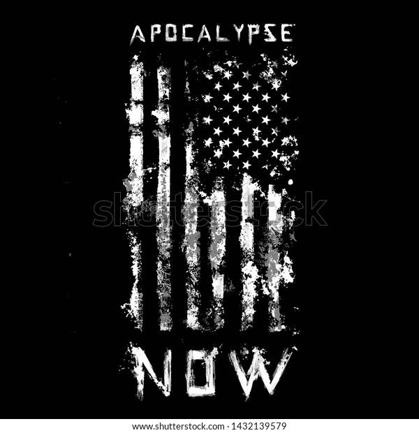 Black White American Flag Illustration Tee Stock Vector Royalty