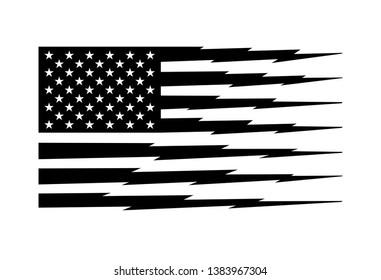 Black and White American Flag Stripes in Lightning Shape