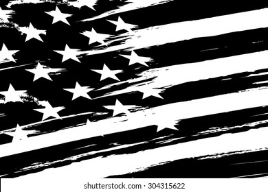 black and white american flag. vector