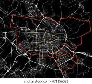 Black and white Amsterdam map vector