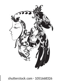 Black and white angel face symbolizes Virgo zodiac with vintage Victorian patterns.