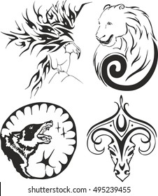 Black and white animal tribal tattoo set with an eagle, a bear, a wolf and a ram. Animal tattoo sketches.