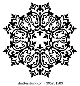 black and white antique Ottoman Turkish design motifs vector
