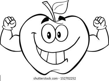 Black And White Apple Cartoon Mascot Character With Muscle Arms