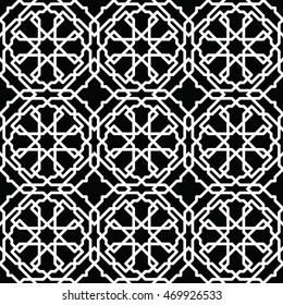 Фотообои Black and white arabic seamless pattern. Moroccan background. Geometric muslim ornament backdrop. Vector 10 EPS illustration.