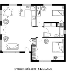 Black and White architectural plan of a house. Layout of the apartment with the furniture in the drawing view. With kitchen and bathroom, living room and bedroom.