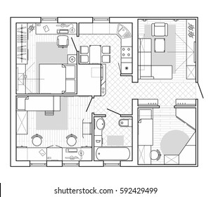 Black and White architectural plan of a house. Layout in top view of the apartment with the furniture in the drawing view. Graphic design elements. Vector interior house, blueprint