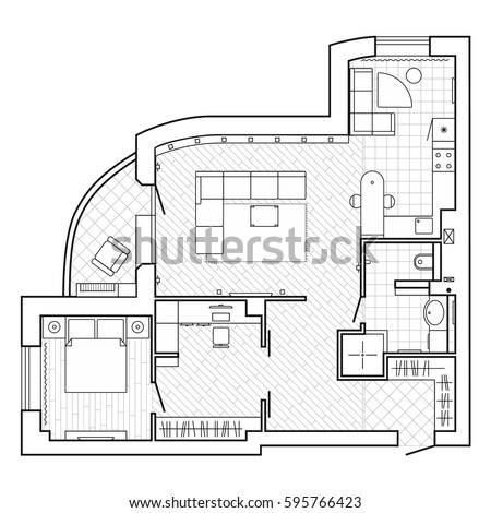 Black And White Architectural Plan Of A House. Layout Of The Apartment With  The Furniture