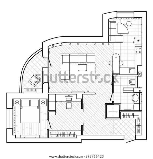 Image Vectorielle De Stock De Plan Architectural Noir Et Blanc D Une 595766423