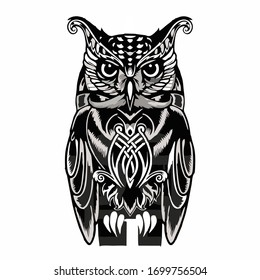 black white art picture of owl for tattoos / screen printing t-shirts