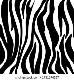 Black and white artwork Zebra print. Animal skin, tiger stripes, abstract pattern, line background, fabric. Vintage, retro 80s, 90s. Modern hand drawn vector illustration. Poster, banner monochrome