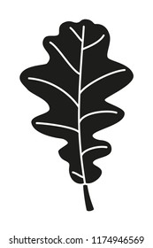Black and white asymmetrical oak leaf silhouette. Fall plant symbol. Autumn harvest themed vector illustration for icon, logo, stamp, label, sticker, badge, gift card, certificate or flayer decoration