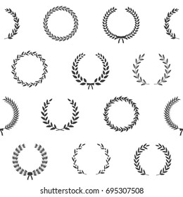Black and white award wreaths. Seamless pattern. Vector illustration.