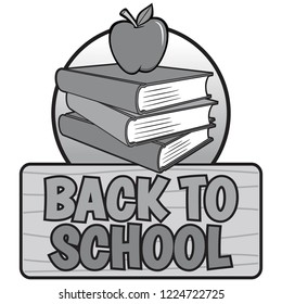 Black and White Back to School Design - A vector cartoon illustration of a Back to School concept.