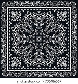 Black and white background, geometric doodle sketch pattern with ornate lace frame. Tribal ethnic ornament. Bandanna shawl, tablecloth fabric print, silk neck scarf, kerchief design