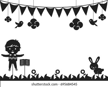 Black and White Background Illustration Featuring a Puppet Stick Used for Storytelling