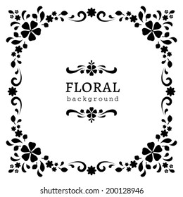 Black and white background, ornamental square vector frame, abstract floral decor