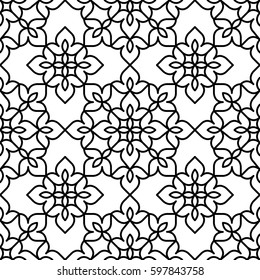 Black and white background. Regular pattern with Moroccan styled floral elements. Vector seamless repeat.