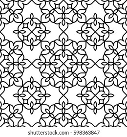 Black and white background. Symmetrical pattern with Moroccan styled floral elements. Vector seamless repeat.