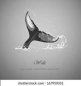 black and white background with the tail of a whale and sea surge