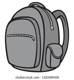 Black and White Backpack - A vector cartoon illustration of a Hiking Backpack.