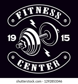 Black and white badge of dumbbell, shirt design for the fitness theme on the dark background.