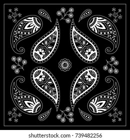 Black and white bandana print with paisley. Square pattern design for pillow, carpet, rug. Design for silk neck scarf, kerchief, hanky