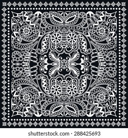 Black and White Bandana Print, silk neck scarf or kerchief square pattern design style for print on fabric, abstract ornament vector illustration