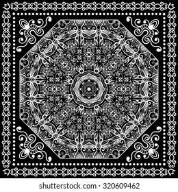 Black and White Bandana Print, silk neck scarf or kerchief square pattern design style for print on fabric, abstract Mandala round lace ornament vector illustration