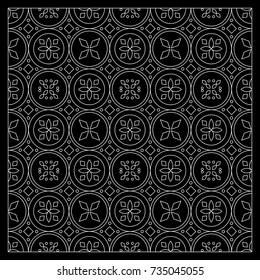 Black and White bandana print with tiling pattern maroccan style.Square pattern design for pillow, carpet, rug. Design for silk neck scarf, kerchief, hanky