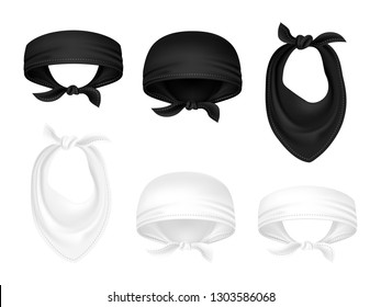 BLACK AND WHITE BANDANAS or bikers scarfs isolated on white background
